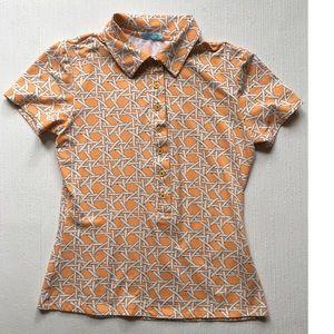 J. Mclaughlin Orange Print Polo Shirt Size XS.